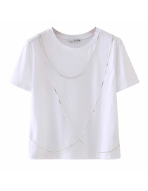 Fashion White Solid Color T-shirt With Faux Jewelry Chain