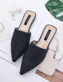 Fashion Black Pointed Braided Breathable Flat Half Slippers