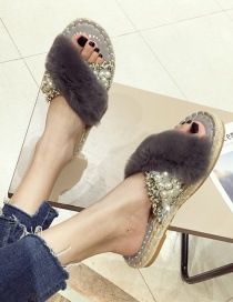 Fashion Gray Open-toe Hair Flat Pearl Sandals