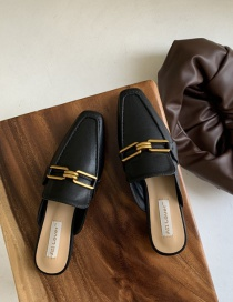 Fashion Black Flat Bottom Half Slippers With Metal Buckle