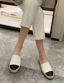 Fashion White Fisherman's Flat Heel Thick-bottomed Baotou Hit Color Half Slippers