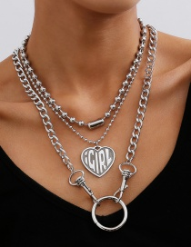 Fashion White K Heart-shaped Embossed Alphabet Bead Chain Multi-layer Necklace