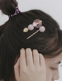 Fashion Pink Round Bead Daisy Resin Alloy Geometric Hairpin Set
