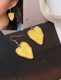 Fashion Yellow Acrylic Love Alloy Earrings