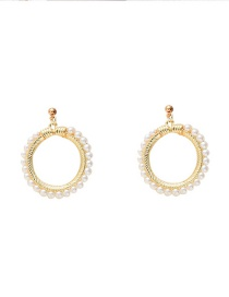 Fashion Golden Pearl Circle Alloy Hollow Earrings