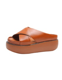Fashion Brown Cross-band Thick Bottom Sponge Cake And Slippers