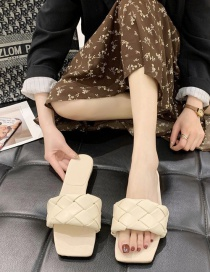 Fashion Beige Flat Bottom Square Slippers With Braid