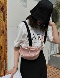 Fashion Pink Transparent Waterproof Chain Shoulder Messenger Bag