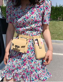 Fashion Yellow Flap Metal Lock With Multiple Belt Bags
