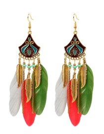 Fashion Color Mixing Feather Rice Bead Alloy Dropping Fringe Earrings