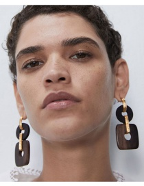 Fashion Black Contrast Color Wooden Geometric Alloy Hollow Earrings