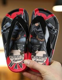 Fashion Iron Man Red Printed Unicorn Princess Non-slip Herringbone Childrens Slippers
