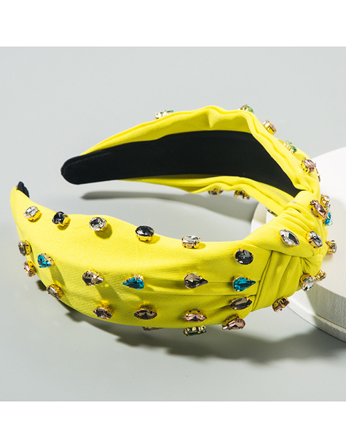 Fashion Yellow Cloth And Diamond Knotted Pleated Wide-brimmed Hair Band