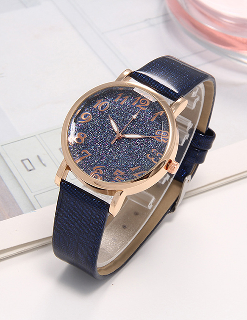 Fashion Blue Starry Sky Surface Strap Watch Digital Hands Ladies Quartz Watch