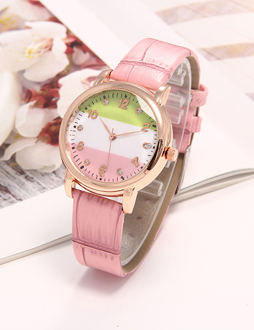 Fashion Pink Pu Strap Contrast Diamond Inlay Womens Watch