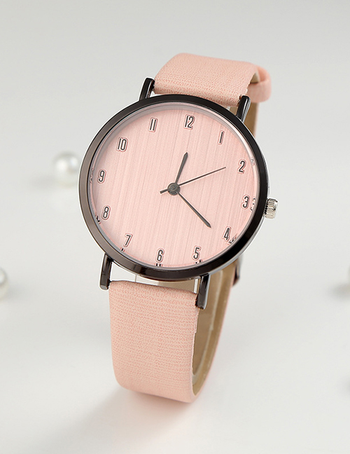 Fashion Pink Digital Watch With Ultra-thin Dial With Pu Belt