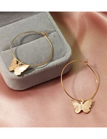 Fashion Round Golden Small Butterfly Alloy Geometric Earrings