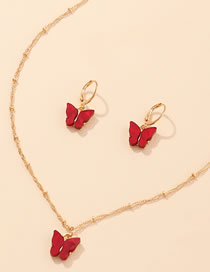 Fashion Red Wine Butterfly Acrylic Alloy Necklace Earring Set