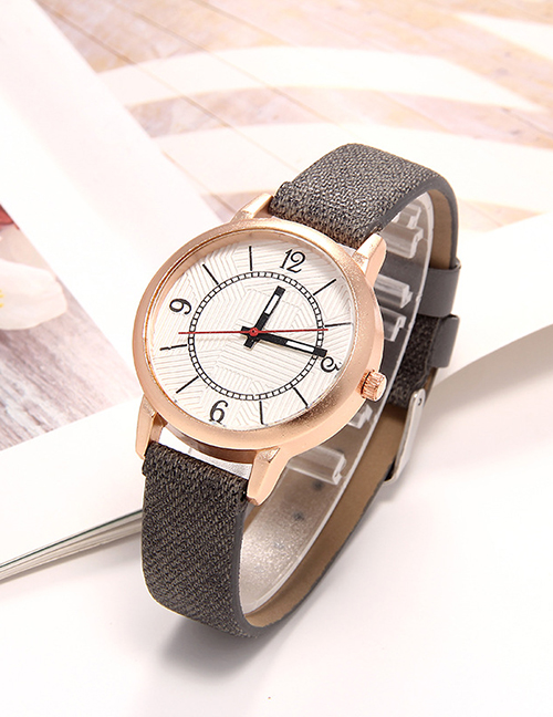 Fashion Gray Roman Dial Leather Quartz Womens Watch