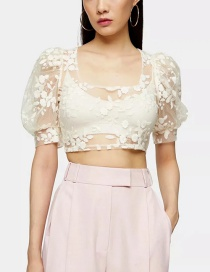 Fashion White Perspective Embroidered Floral Puff Sleeve Short Top