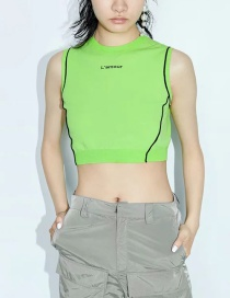 Fashion Green Letter Embroidered Contrast Sleeveless Vest