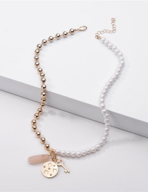 Fashion Golden Round Bead Chain Pearl Key Stone Pendant Necklace