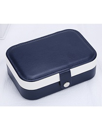 Fashion Navy Blue Earrings Ring Multi-function Contrast Color Snap Jewelry Box