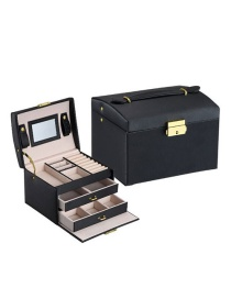 Fashion Rain Silk Black Pu Leather Box Three Layer Double Drawer Jewelry Box