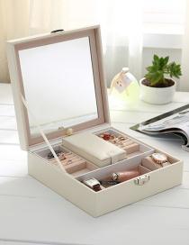Fashion White Wooden Cosmetics Jewelry Box With Mirror Jewelry