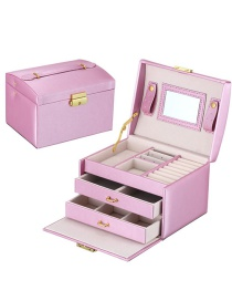 Fashion Rain Silk Purple Pu Leather Drawer Jewelry Box