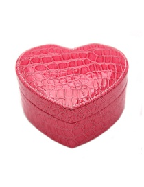 Fashion Rose Red Pu Heart-shaped Crocodile Pattern Jewelry Box