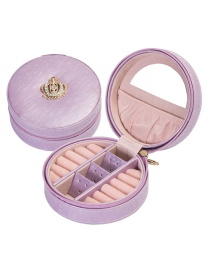Fashion Light Purple Crown Portable Ring Earring Pu Leather Jewelry Box
