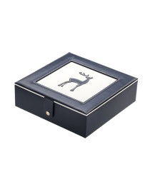 Fashion Navy Blue Fawn Pu Double-layer Jewelry Box With Mirror