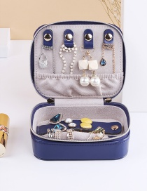 Fashion Navy Blue Portable Double Zipper Pu Leather Earrings Necklace Jewelry Box
