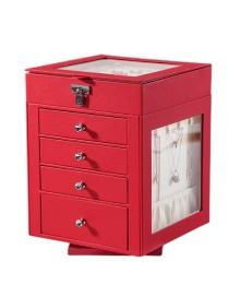Fashion Red Large Capacity Five-layer Rotating Leather Window Jewelry Box