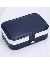 Fashion Navy Blue Leather Portable Double-layer Jewelry Box