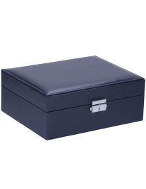 Fashion Navy Blue Large-capacity Double-layer Pu Leather Clamshell Jewelry Box