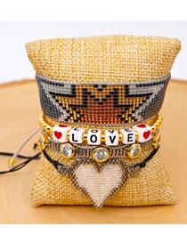 Fashion Set Color Mixing Golden Pearl Mizhu Hand Woven Love Diamond Bracelet Set