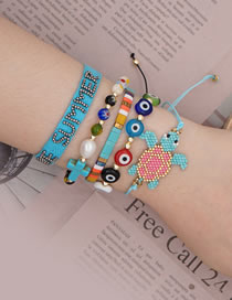 Fashion Suit Blue Natural Freshwater Pearl Rice Pearl Hand Woven Turtle Bracelet Set