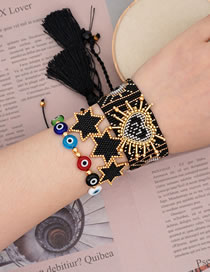 Fashion Suit Black Eyes Handmade Rice Beads Woven Love Six-pointed Star Wide Bracelet Set