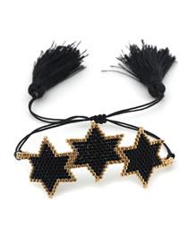 Fashion Pentagram Black Eyes Handmade Rice Beads Woven Love Six-pointed Star Wide Bracelet Set