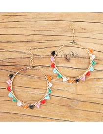 Fashion Mixed Color Semicircle Geometric Round Handmade Rice Beads Woven Earrings