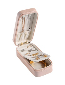 Fashion Nude Powder Portable Rectangular Jewelry Pu Leather Jewelry Box