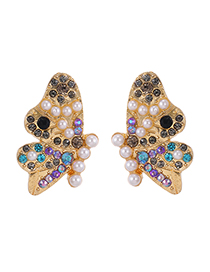 Fashion Color Butterfly Pearl Stud Earrings