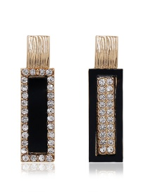 Fashion Black Alloy Diamond Earrings