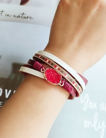 Fashion Red Pu Leather Magnetic Buckle Resin Alloy Multi-layer Bracelet