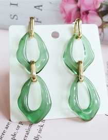 Fashion Green Acrylic Hollow Oval Alloy Earrings