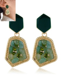 Fashion Green Acrylic Alloy Resin Drip Geometric Earrings