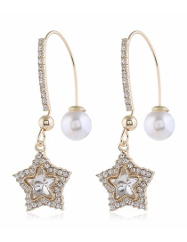 Fashion Yellow Pentagram Pearl And Diamond Geometric Alloy Earrings