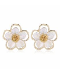 Fashion White Flower Pearl Alloy Hollow Earrings